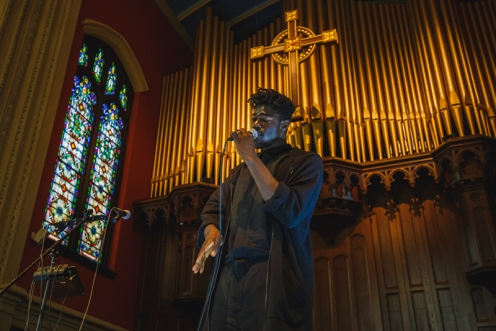 Moses Sumney performing at Moogfest 2016 in Durham, North Carolina on May 21, 2016. (Photo: Ian Clontz)