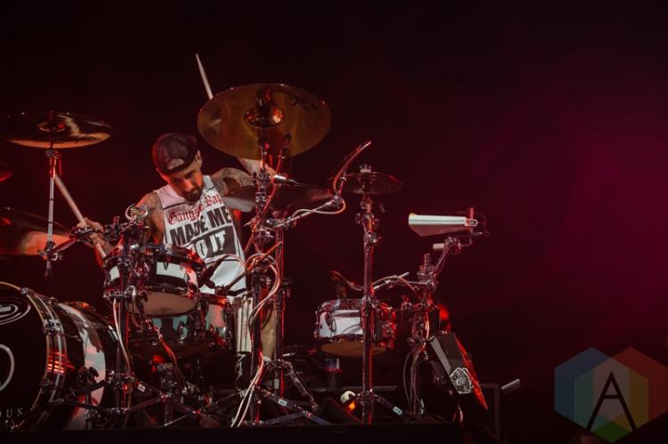 Blink-182 performing at Amnesia Rockfest 2016 in Montebello, Quebec on June 24, 2016. (Photo: Scott Penner/Aesthetic Magazine)