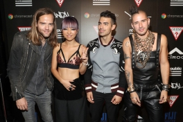(L-R) Jack Lawless, JinJoo Lee, Joe Jonas and Cole Whittle of DNCE attend the Republic Records afterparty following the 2016 MTV Video Music Awards on August 28, 2016 at Vandal in New York City. (Photo: Rob Kim/Getty)