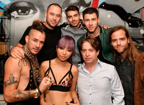 DNCE, Charlie Walk, and Nick Jonas attend the Republic Records afterparty following the 2016 MTV Video Music Awards on August 28, 2016 at Vandal in New York City. (Photo: Slaven Vlasic/Getty)