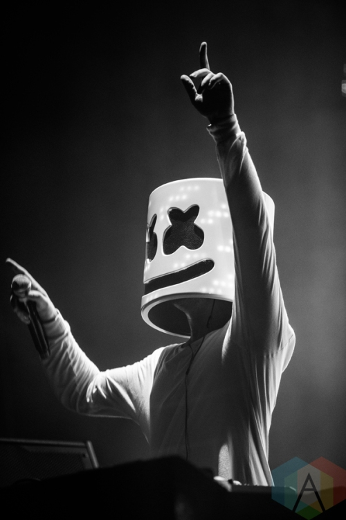 Marshmello performing at the Mad Decent Block Party at