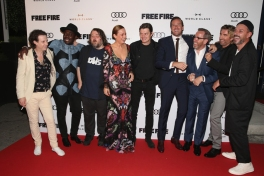 "(L-R) Actors Noah Taylor, Babou Ceesay, director Ben Wheatley, Brie Larson, Sam Riley, Armie Hammer, Michael Smiley, Sharlto Copley and Enzo Cilenti attend the ""Free Fire"" premiere screening party hosted by Bulleit at Early Mercy during TIFF 2016 on September 8, 2016 in Toronto, Canada. (Photo: Todd Williamson/Getty)"
