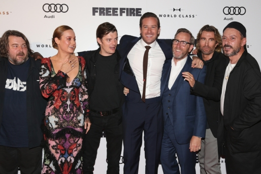 "(L-R) Director Ben Wheatley, Brie Larson, Sam Riley, Armie Hammer, Michael Smiley, Sharlto Copley and Enzo Cilenti attend the ""Free Fire"" premiere screening party hosted by Bulleit at Early Mercy during TIFF 2016 on September 8, 2016 in Toronto, Canada. (Photo: Todd Williamson/Getty)"