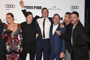 "(L-R) Actors Brie Larson, Sam Riley, Armie Hammer, Michael Smiley, Sharlto Copley and Enzo Cilenti attend the ""Free Fire"" premiere screening party hosted by Bulleit at Early Mercy during TIFF 2016 on September 8, 2016 in Toronto, Canada. (Photo: Todd Williamson/Getty)"
