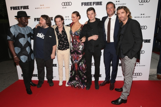 "(L-R) Actors Babou Ceesay, Noah Taylor, director Ben Wheatley, Brie Larson, Sam Riley, Armie Hammer, Michael Smiley, Sharlto Copley and Enzo Cilenti attend the ""Free Fire"" premiere screening party hosted by Bulleit at Early Mercy during TIFF 2016 on September 8, 2016 in Toronto, Canada. (Photo: Todd Williamson/Getty)"