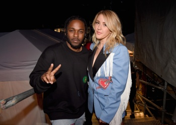 Rapper Kendrick Lamar (L) and singer Ellie Goulding attend the 2016 Global Citizen Festival in Central Park in New York City on September 24, 2016. (Photo: Kevin Mazur/Getty)