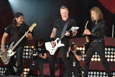NEW YORK, NY - SEPTEMBER 24: (L-R) Robert Trujillo, James Hetfield, and Kirk Hammett of Metallica perform onstage at the 2016 Global Citizen Festival In Central Park To End Extreme Poverty By 2030 at Central Park on September 24, 2016 in New York City. (Photo by Theo Wargo/Getty Images for Global Citizen)