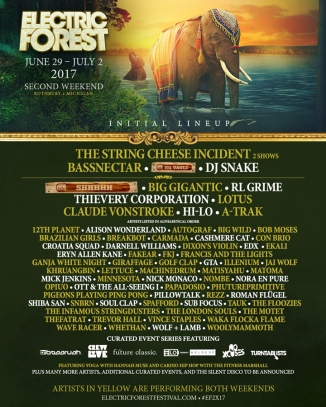 Electric Forest 2017 Weekend Two Lineup