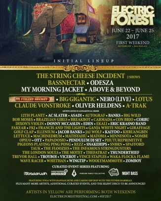 Electric Forest 2017 Weekend One Lineup