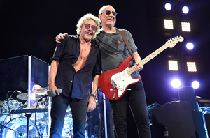 NEW YORK, NY - MAY 26: Roger Daltrey and Pete Townshend of The Who perform during their Hits 50! North American tour at Barclays Center of Brooklyn on May 26, 2015 in New York City. (Photo by Kevin Mazur/WireImage)