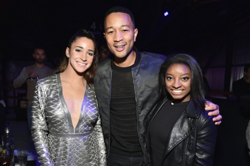 (L-R) Aly Raisman, John Legend, and Simone Biles attend the 2017 DIRECTV NOW Super Saturday Night Concert at Club Nomadic on February 4, 2017 in Houston, Texas. (Photo: Mike Coppola/Getty)