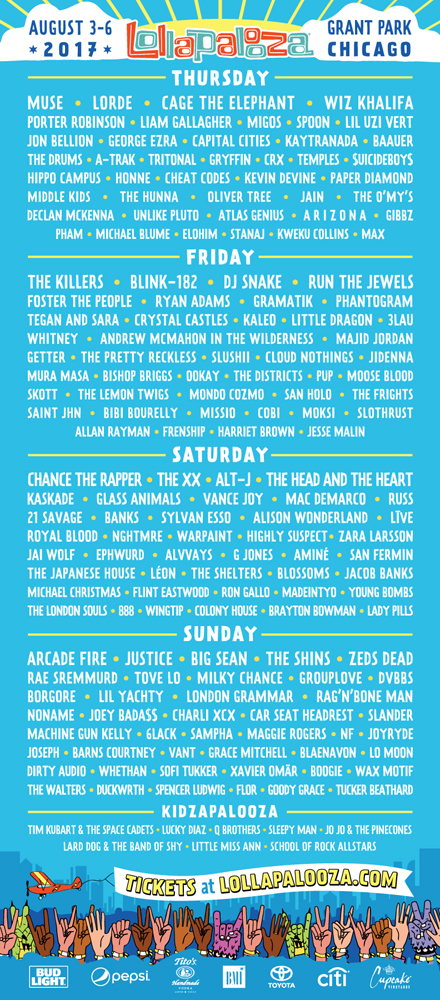 Lollapalooza Chicago 2017 Lineup