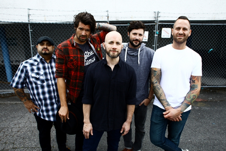 L-R: Eddie Reyes, Adam Lazzara, Shaun Cooper, John Nolan, and Mark O'Connell of Taking Back Sunday. (Photo: Ryan Russell)
