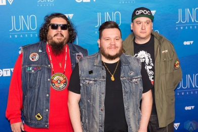 A Tribe Called Red attends the 2017 JUNO Awards at the Canadian Tire Centre in Ottawa on April 2, 2017. (Photo: Brendan Albert/Aesthetic Magazine)