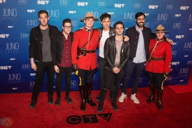 Arkells attend the 2017 JUNO Awards at the Canadian Tire Centre in Ottawa on April 2, 2017. (Photo: Brendan Albert/Aesthetic Magazine)