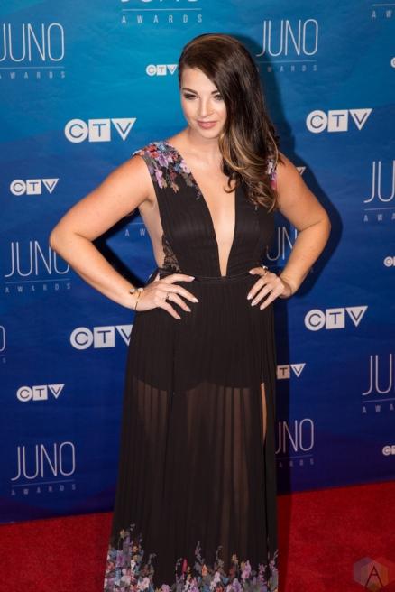 Jess Moskaluke attends the 2017 JUNO Awards at the Canadian Tire Centre in Ottawa on April 2, 2017. (Photo: Brendan Albert/Aesthetic Magazine)