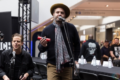 The Strumbellas perform at JUNO Fan Fare at the Rideau Centre in Ottawa on April 1, 2017. (Photo: Brendan Albert/Aesthetic Magazine)
