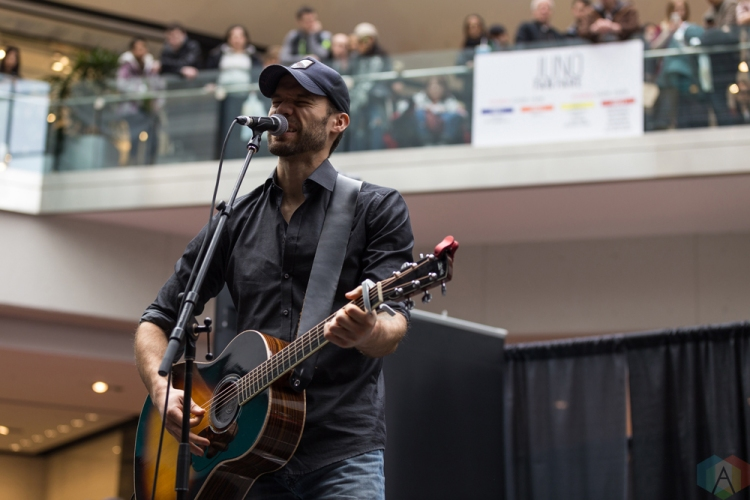 Chad Brownlee performs at JUNO Fan Fare at the Rideau Centre in Ottawa on April 1, 2017. (Photo: Brendan Albert/Aesthetic Magazine)