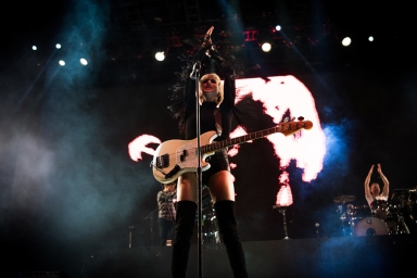 Phantogram performs at the Coachella Music Festival in Indio, California on April 14, 2017. (Photo: Chris Miller)