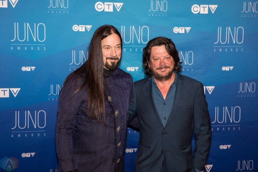 Rob Baker (L) and Paul Langlois of The Tragically Hip attend the 2017 JUNO Awards at the Canadian Tire Centre in Ottawa on April 2, 2017. (Photo: Brendan Albert/Aesthetic Magazine)