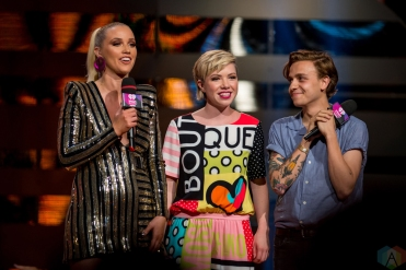 Carly Rae Jepsen and Scott Helman on stage at the 2017 iHeartRadio Much Music Video Awards in Toronto on June 18, 2017. (Photo: Orest Dorosh/Aesthetic Magazine)