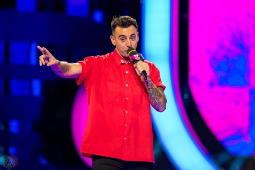 Jacob Hoggard of Hedley on stage at the 2017 iHeartRadio Much Music Video Awards in Toronto on June 18, 2017. (Photo: Orest Dorosh/Aesthetic Magazine)