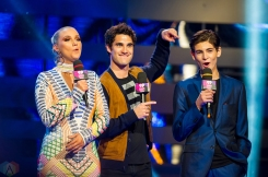 Darren Criss (L) and David Mazouz on stage at the 2017 iHeartRadio Much Music Video Awards in Toronto on June 18, 2017. (Photo: Orest Dorosh/Aesthetic Magazine)