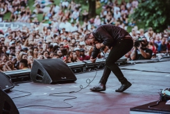 Future Islands performs at the Panorama Music Festival in New York City on July 28, 2017. (Photo: Nikki Jahanforouz)
