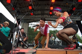 Las Cafeteras performs at Hillside Festival on July 16, 2017. (Photo: Morgan Hotston/Aesthetic Magazine)