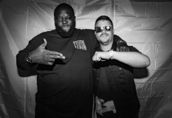 Run The Jewels poses backstage at Capitol Hill Block Party in Seattle on July 21, 2017.