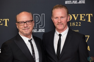 (L-R) Paul Haggis, and Morgan Spurlock attend the Artists For Peace And Justice gala at the Art Gallery of Ontario in Toronto on September 10, 2017 during the 2017 Toronto International Film Festival. (Photo: Brendan Albert/Aesthetic Magazine)