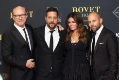 (L-R) Paul Haggis, George Stroumboulopoulos, and Natasha Koifman attend the Artists For Peace And Justice gala at the Art Gallery of Ontario in Toronto on September 10, 2017 during the 2017 Toronto International Film Festival. (Photo: Brendan Albert/Aesthetic Magazine)