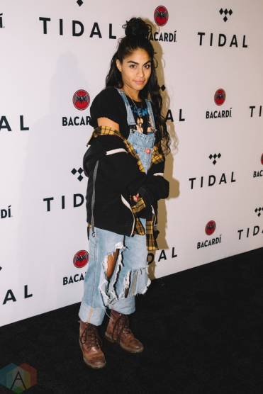 NEW YORK, NY - OCTOBER 17: Jessie Reyez attends the TIDAL X: Brooklyn red carpet at Barclays Center in Brooklyn, New York on October 17, 2017. (Photo: Stephan Ordonez/Aesthetic Magazine)