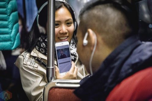 "TORONTO, ON - NOVEMBER 2: Fans listen to the new Sam Smith album ""The Thrill of it All"" aboard a TTC streetcar in Toronto on November 2, 2017. (Photo: Anton Mak/Aesthetic Magazine)"
