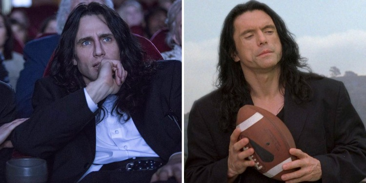 (L to R) Disaster Artist director and star, James Franco, and The Room director, Tommy Wiseau.