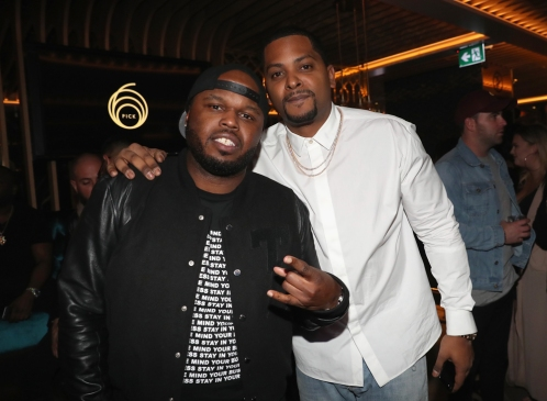 TORONTO, ON - JANUARY 9: DJ Steph Floss (L) and Chubbs attend Dwyane Wade's birthday party at Pick 6ix in Toronto on January 9, 2018. (Photo: Johnny Nunez/Getty)
