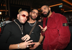 TORONTO, ON - JANUARY 9: Eric Da Jeweler, Cans and Drake attend Dwyane Wade's birthday party at Pick 6ix in Toronto on January 9, 2018. (Photo: Johnny Nunez/Getty)