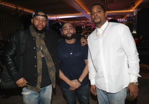 TORONTO, ON - JANUARY 9: (L-R) DJ Meel, DJ Charlie B and Chubbs attend Dwyane Wade's birthday party at Pick 6ix in Toronto on January 9, 2018. (Photo: Johnny Nunez/Getty)