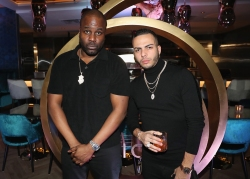 TORONTO, ON - JANUARY 9: Baka Not Nice (L) and Eric Da Jeweler attend Dwyane Wade's birthday party at Pick 6ix in Toronto on January 9, 2018. (Photo: Johnny Nunez/Getty)
