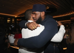 TORONTO, ON - JANUARY 9: Chubbs (L) and Lebron James attend Dwyane Wade's birthday party at Pick 6ix in Toronto on January 9, 2018. (Photo: Johnny Nunez/Getty)