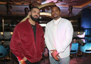 TORONTO, ON - JANUARY 9: Drake (L) and Chubbs attend Dwyane Wade's birthday party at Pick 6ix in Toronto on January 9, 2018. (Photo: Johnny Nunez/Getty)