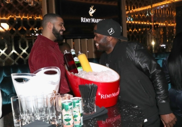TORONTO, ON - JANUARY 9: Drake (L) and DJ Steph Floss attend Dwyane Wade's birthday party at Pick 6ix in Toronto on January 9, 2018. (Photo: Johnny Nunez/Getty)