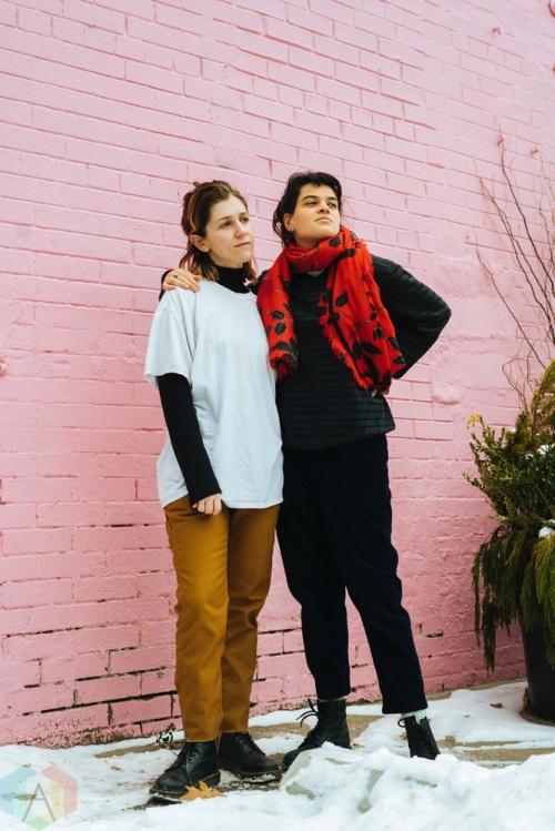 TORONTO, ON - JANUARY 18: Hana Elion and JJ Mitchell of Overcoats pose for a portrait in Toronto. (Photo: Nicole De Khors/Aesthetic Magazine)