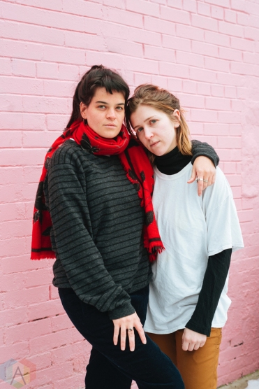 TORONTO, ON - JANUARY 18: Hana Elion and JJ Mitchell of Overcoats pose for a portrait in Toronto. (Photo: Nicole De Khors/Aesthetic Magazine)