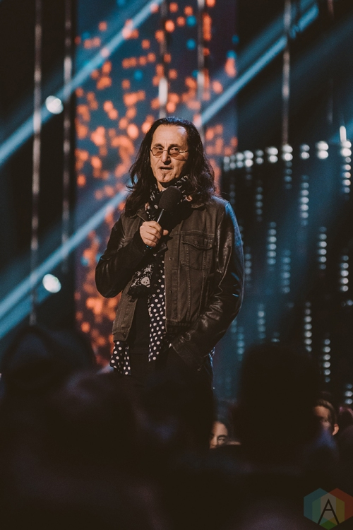 VANCOUVER, BC - MARCH 25: Geddy Lee of Rush attends the Juno Awards at Rogers Arena in Vancouver on March 25, 2018. (Photo: Tim Nugyen/Aesthetic Magazine)