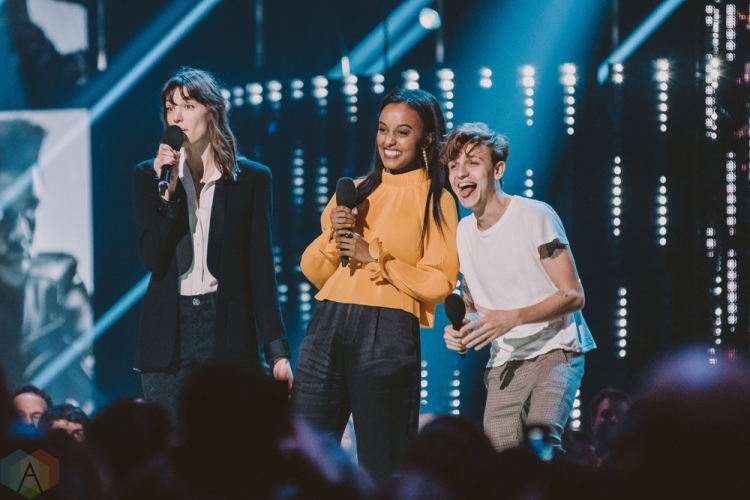 VANCOUVER, BC - MARCH 25: Charlotte Cardin, Ruth B, and Scott Helman attend the Juno Awards at Rogers Arena in Vancouver on March 25, 2018. (Photo: Tim Nugyen/Aesthetic Magazine)