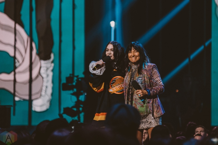 VANCOUVER, BC - MARCH 25: Grimes and Buffy Sainte-Marie attend the Juno Awards at Rogers Arena in Vancouver on March 25, 2018. (Photo: Tim Nugyen/Aesthetic Magazine)