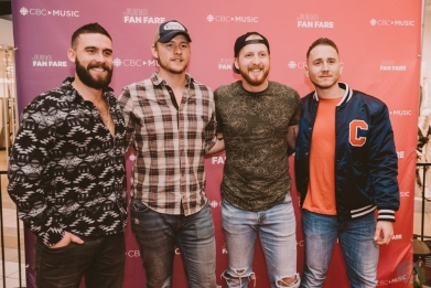 BURNABY, BC - MARCH 24: James Barker Band attends JUNO Fan Fare in Burnaby, BC on March 24, 2018. (Photo: Tim Nguyen/Aesthetic Magazine)