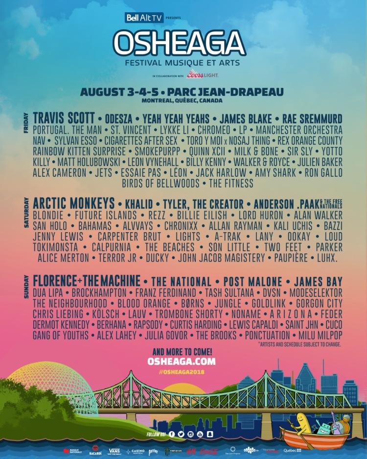 Osheaga 2018 Lineup