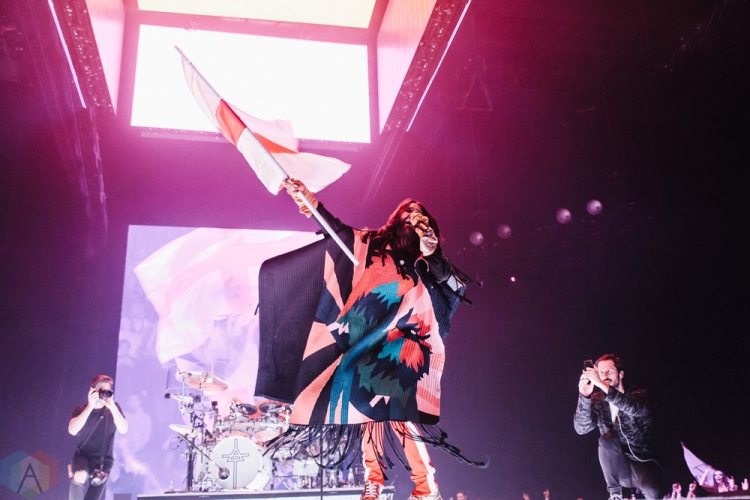 MANCHESTER, UK - MARCH 24: Jared Leto of Thirty Seconds To Mars performs at Manchester Arena in Manchester, UK on March 24, 2018. (Photo: Priti Shikotra/Aesthetic Magazine)